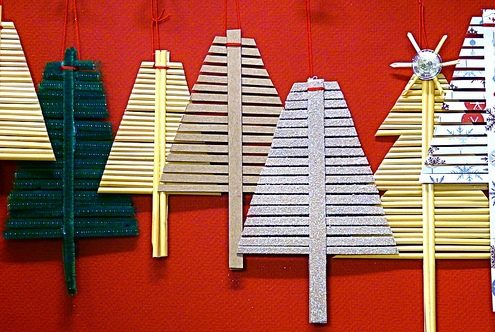 "Make recycled cardbaord ""wheat straw"" tree ornaments"