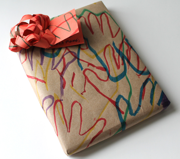 child hand print drawing wrapping paper