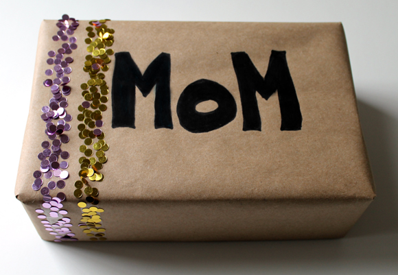 chunky glitter gift wrapping with craft paper