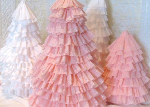 crepe paper christmas tress