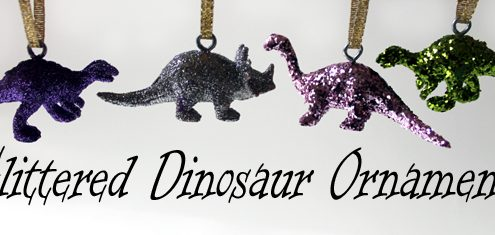 sparkly glitter dinosaur christmas ornaments from dollar store