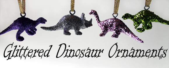 sparkly glitter dinosaur christmas ornaments from dollar store - Dinosaur Christmas Decorations