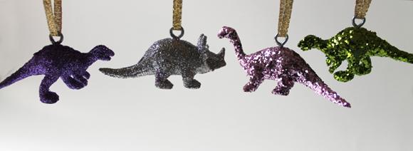 glitter sparkle dinosaur christmas ornaments