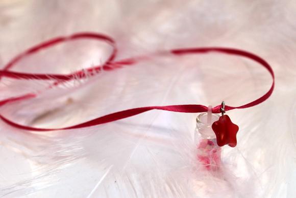 pink pixie dust glitter necklace