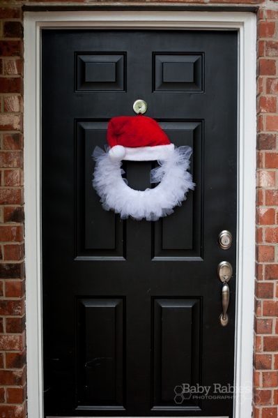 santa hat tulle wreath craft