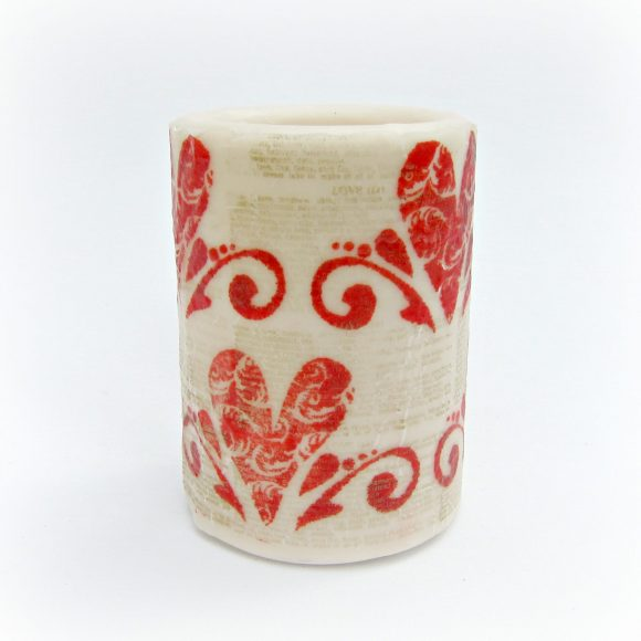 Stamped Valentine Candle
