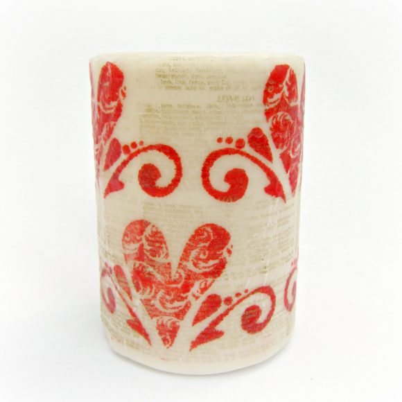 Valentine Stamped Candle