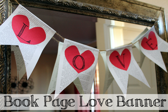 book page pennant heart love banner