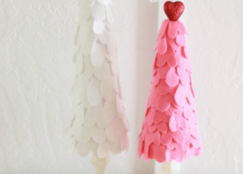 valentine's day felt heart trees