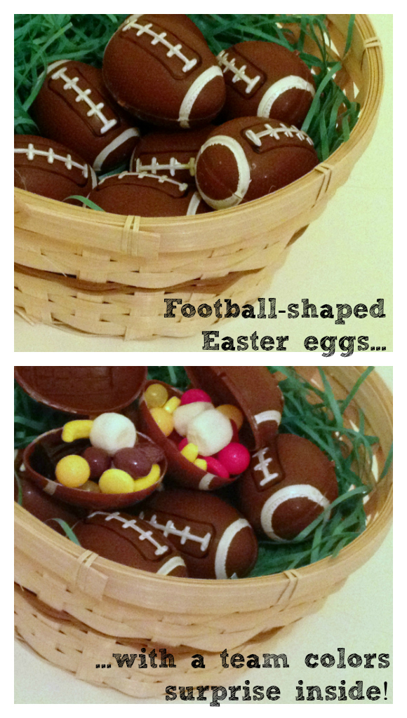 Football candy party favors with a team colors surprise inside!