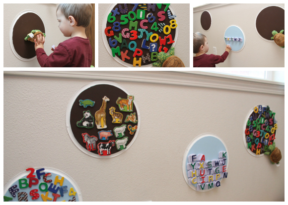 magnetic toy storage from pizza pans