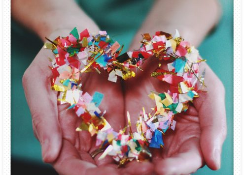 DIY hot glue confetti heart
