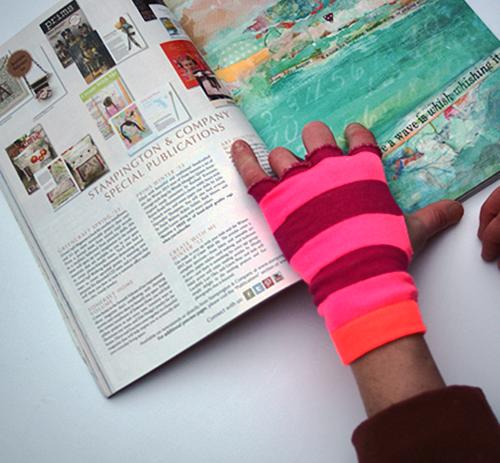 striped socks into fingerless gloves