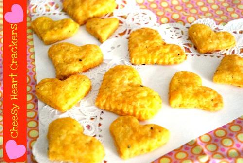 Cheesy Heart Crackers