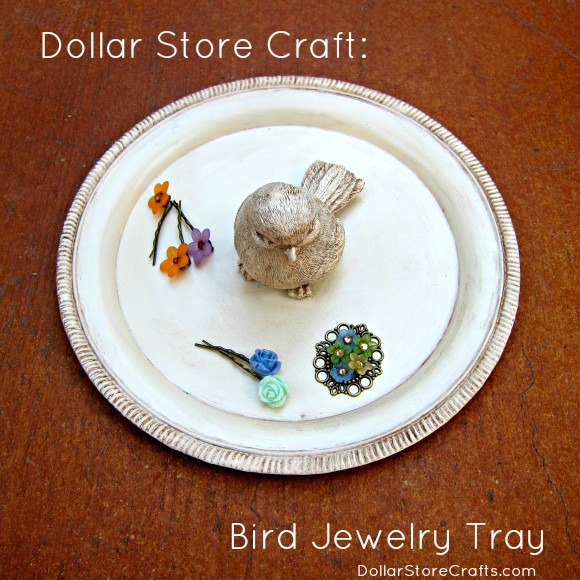 Dollar store craft: bird jewelry tray