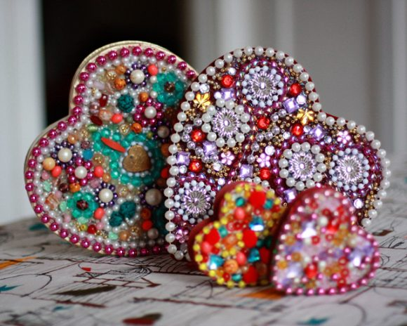 Heart Shaped Beaded Boxes