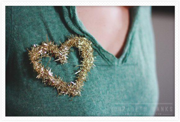 hot glue confetti heart brooch