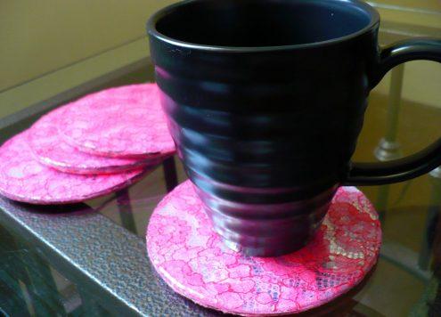 lace mirror coasters