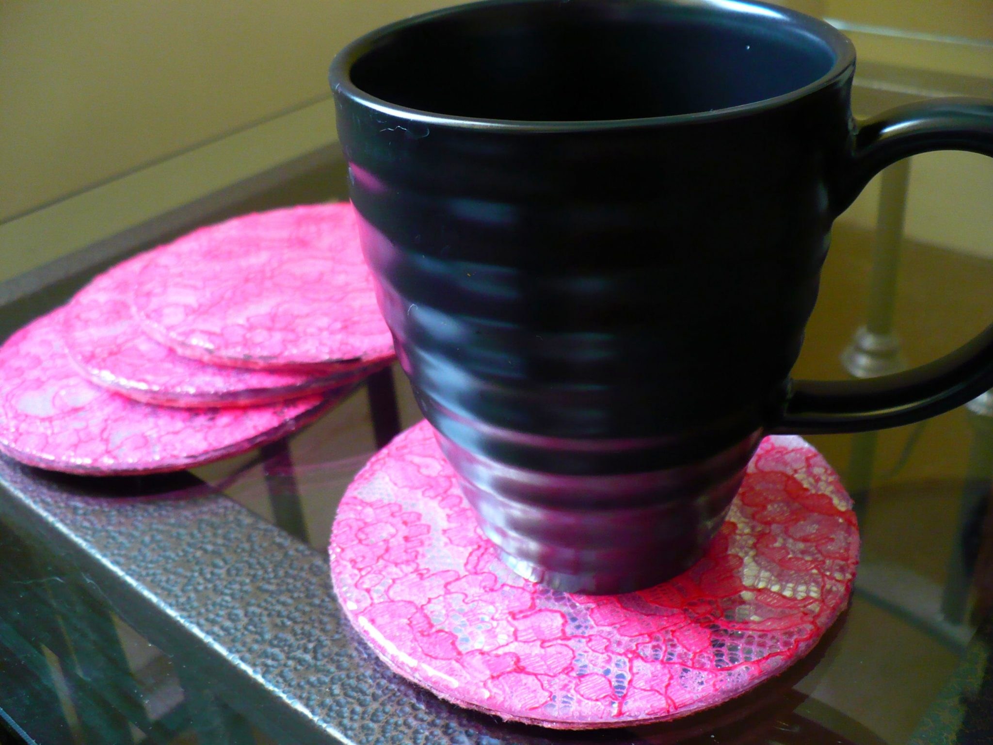 Make lace mirror coasters dollar store crafts for Dollar store mirror craft