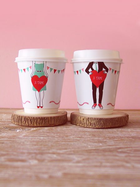 Printable his and hers coffee cup wrappers