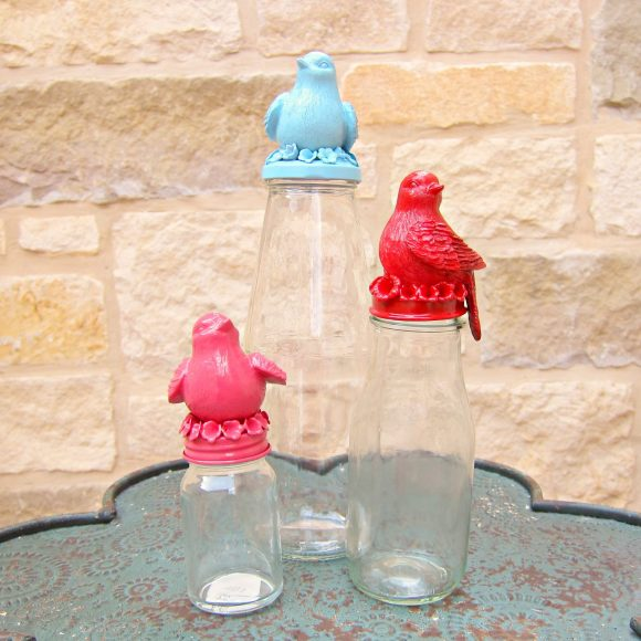 Bird topped jars