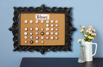 corkboard button calendar