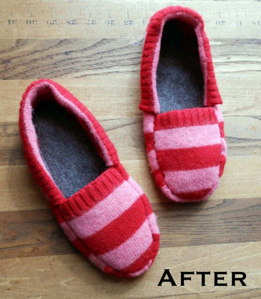 how to make sweater slippers