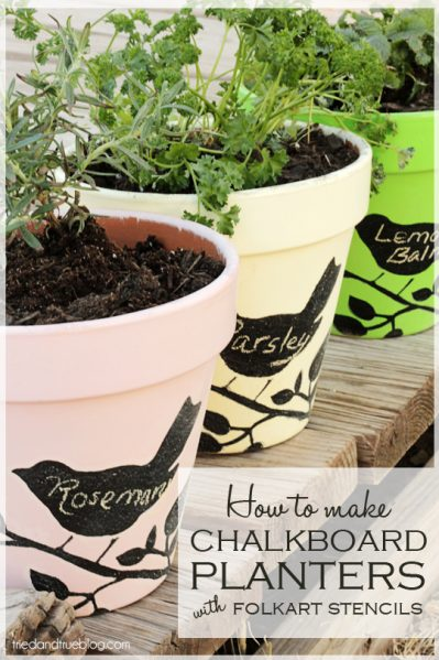 Mske Stenciled Chalkboard Flower Pots