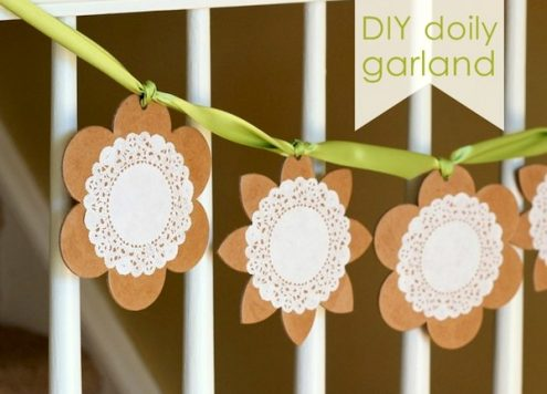 cardboard and doily garland