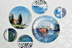 Designer-inspired plate collage wall art