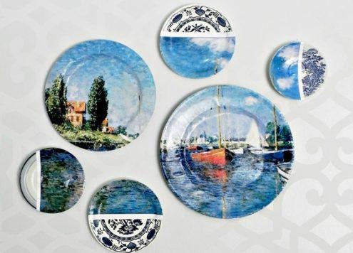 Designer-inspired plate collage wall art