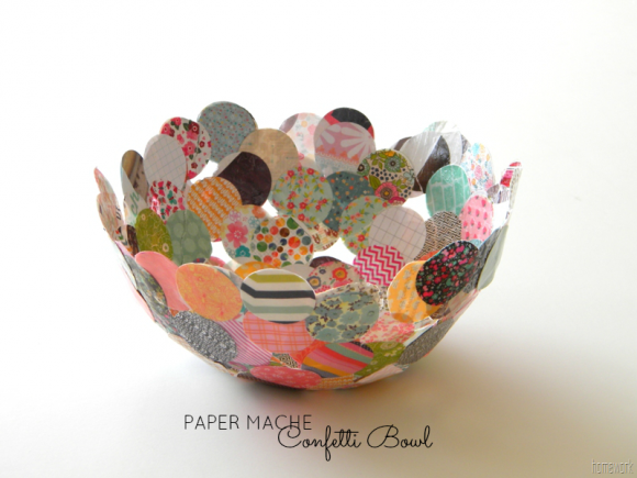 Make A Paper Mache Confetti Bowl Dollar Store Crafts