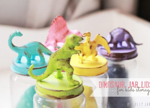 painted dinosaur jar lids