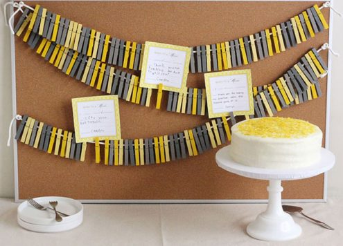 yellow and grey party decorations backdrop