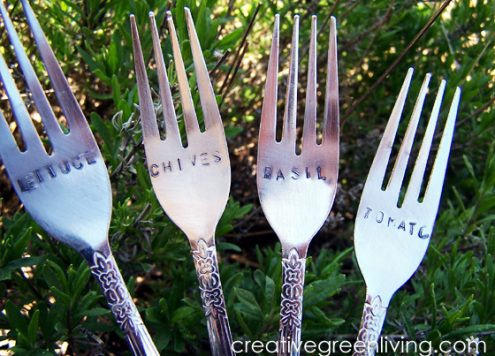 garden markers from silverware