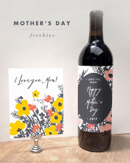 printable mother's day card and wine bottle label