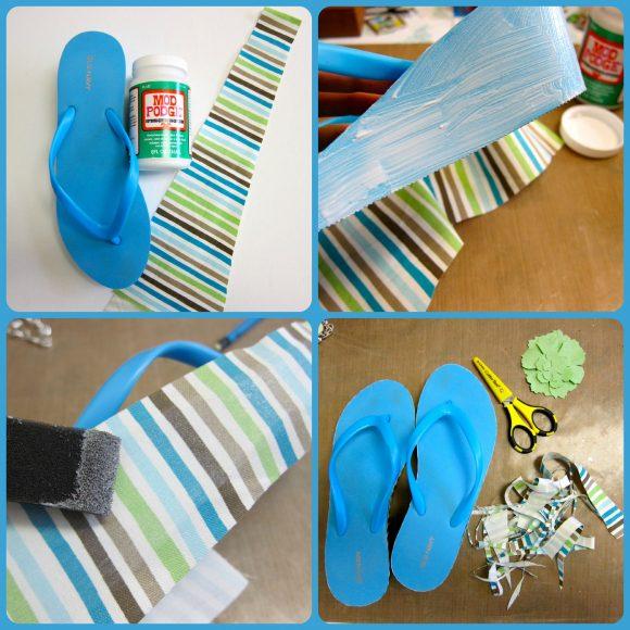 Mod Podge Flip Flops