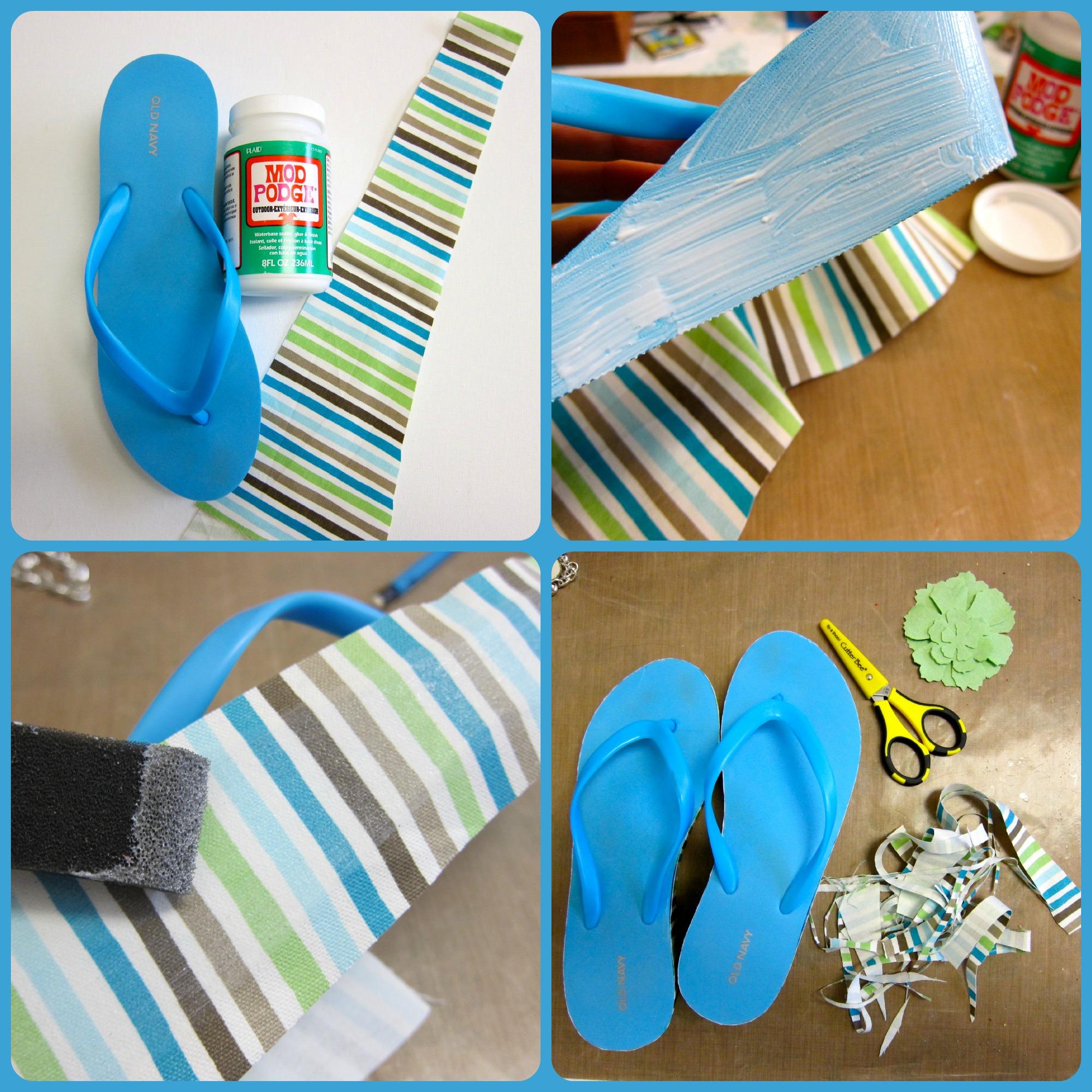 How to mod podge your flip flops dollar store crafts for Flip flops for crafts