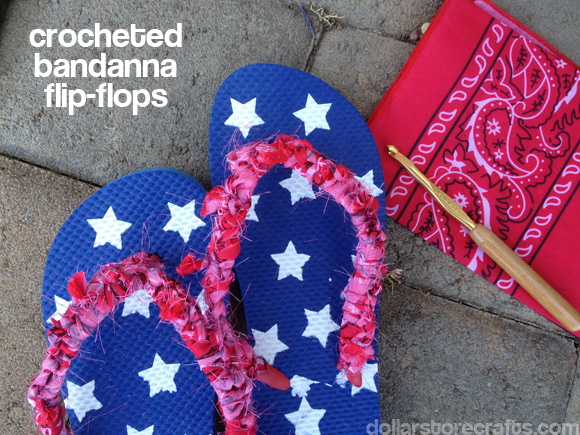 crocheted bandanna flip flops tutorial from dollarstorecrafts.com