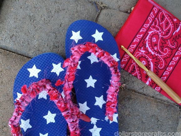 crocheted bandanna flip-flop tutorial by dollarstorecrafts.com