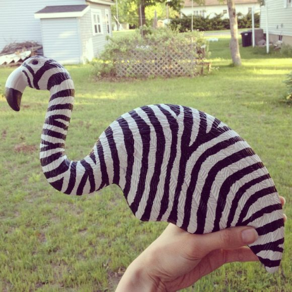 zebra stripe lawn flamingo