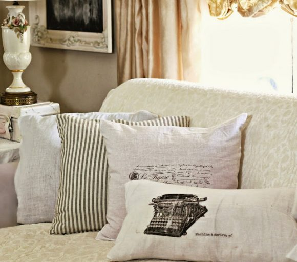 Make Shabby Flour Sack Pillows Dollar Store Crafts