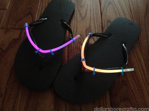 Glow in the dark flip-flops from dollarstorecrafts.com