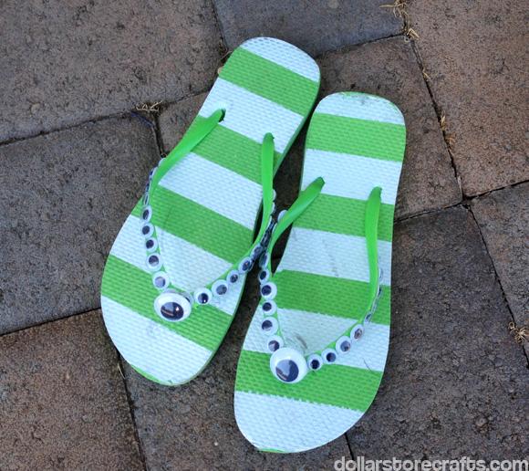 Googly eye flip flops by dollarstorecrafts.com