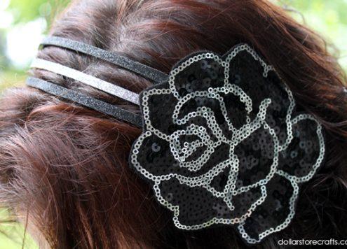 sequin rose glitter headband