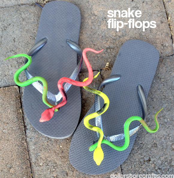 Tutorial snake flip flops dollar store crafts snake flip flips tutorial at dollarstorecrafts publicscrutiny Image collections