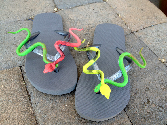 snake flip-flops from dollarstorecrafts.com