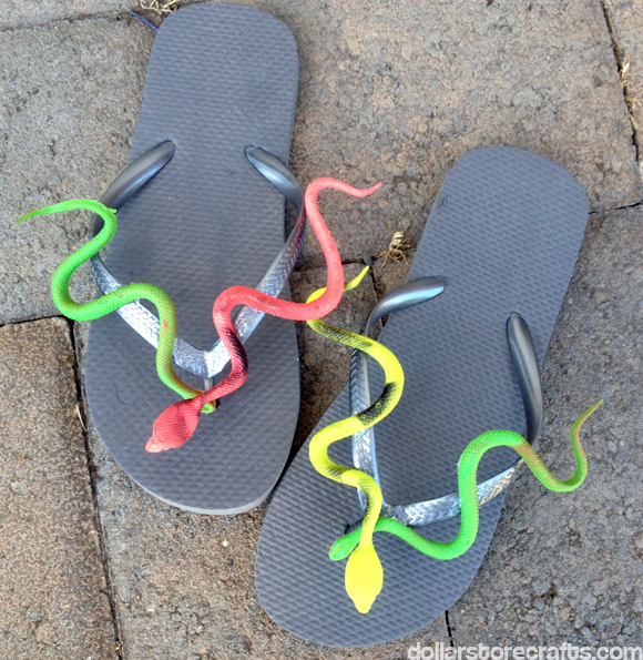 snake flip flops from dollarstorecrafts.com