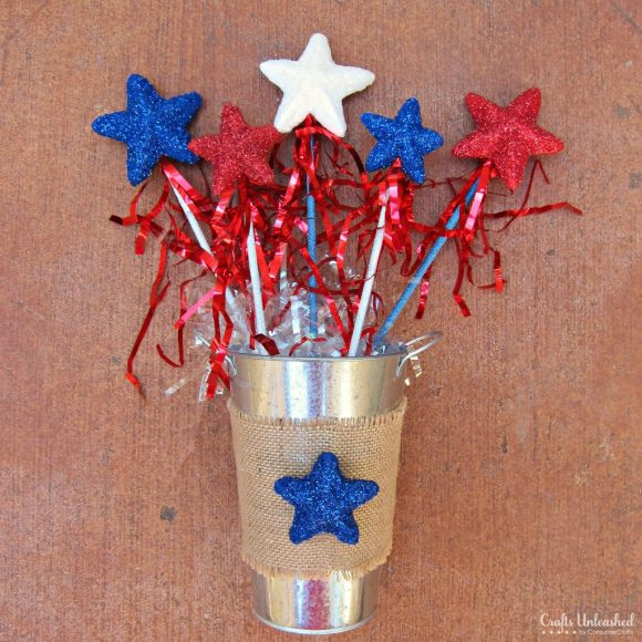 Make patriotic star wands dollar store crafts for Americana crafts to make