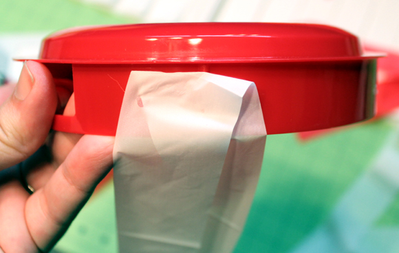 glue strips onto lid
